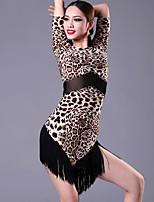 Latin Dance Dresses  Women's Performance / Training Cotton / Chinlon / Spandex Tassel(s) / Leopard Black / Leopard