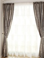 (Two Panel)Modern  Tree  Embroidered  Cotton Energy Saving Curtain