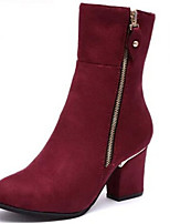 Women's Shoes Chunky Heel Pointed Toe Boots Casual Black / Burgundy