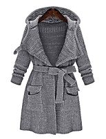 Women's Solid Gray Cardigan , Vintage / Casual Long Sleeve
