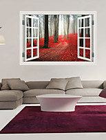 3D Wall Stickers Wall Decals Style Red Autumnal Leaves Forest Floor Fashion Creative Personality PVC Wall Stickers