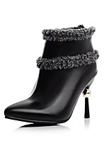 Women's Shoes Leatherette Stiletto Heel Fashion Boots Boots Office & Career / Dress / Casual Black / White