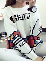 Women's Character Preppy Style Loose Pullover , Casual / Cute Long Sleeve
