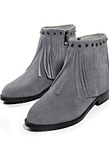 Women's Shoes Leather Flat Heel Fashion Boots / Pointed Toe Boots Dress / Casual Black / Gray