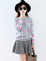 Women's Striped Red / Black / Gray Pullover , Casual Long Sleeve
