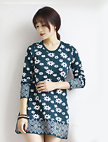 Women's Print Blue / Black / Green Pullover , Casual Long Sleeve