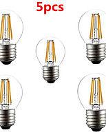 5pcs HRY® G45 4W E27 400LM 360 Degree Warm/Cool White Color Edison Filament Light LED Filament Lamp (AC220V)