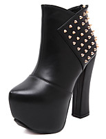 Women's Shoes  Cone Heel Heels / Bootie / Comfort / Round Toe / Closed Toe Boots Casual Black