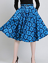 Women's Print Blue / Red Skirts , Casual Knee-length