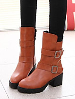 Women's Shoes Chunky Heel Comfort Round Toe Boots with Buckle Casual Black / Brown