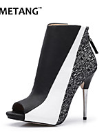 Women's Shoes Leatherette Stiletto Heel Heels / Peep Toe / Fashion Boots Heels Party & Evening / Dress / Casual Black