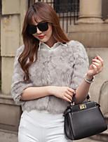 Women Rabbit Fur Top , Belt Not Included