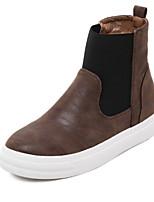Chaussures Femme - Extérieure - Noir / Marron - Talon Plat - Confort - Bottes - Similicuir