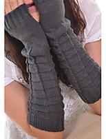 Women Fashion Knitwear Fingerless Warm Long Gloves , Casual