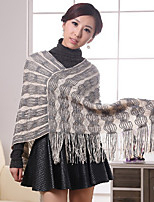 Women's Striped Red / Beige Shrug , Casual Long Sleeve
