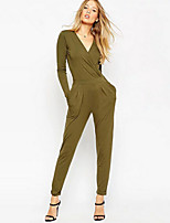 Women's Atmospheric Green Backless Jumpsuits , Casual / Work V Neck Long Sleeve