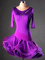 Latin Dance Dresses&Skirts Women's Performance / Training Spandex Ruched 1 Piece Purple / Red