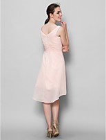 A-line Mother of the Bride Dress - Pearl Pink Knee-length Sleeveless Chiffon