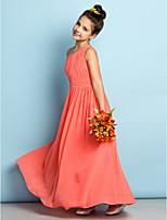 Enkellengte Doek Junior bruidsmeisjesjurk - Watermeloen A-Lijn Een schouder