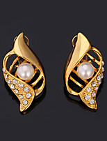 Instyle 18K Chunky Gold Plated Rhinestone Crystal Earrings High Quality
