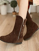 Women's Shoes Leatherette Wedge Heel Snow Boots / Round Toe Boots Outdoor / Office & Career / Casual Brown / Yellow