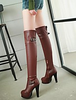 Women's Shoes Leatherette Stiletto Heel Riding Boots Boots Dress / Casual Black / Yellow