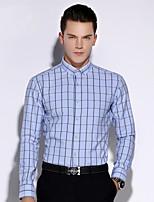 Men's Long Sleeve Shirt , Cotton Casual / Work / Formal Plaids & Checks