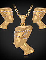 Instyle 18K Chunky Gold Plated Rhinestone Crystal Pendant Earrings Set Vintage High Quality
