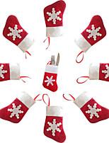 6PCS Christmas Decoration Mini Socks Knife and Fork Cutlery Bags