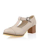 Women's Shoes Chunky Heel Comfort / Pointed Toe Heels Outdoor / Office & Career / Dress Red / White / Silver / Beige