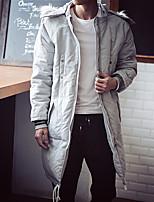 Men's Long Parka Coat , Cotton Blend Pure Long Sleeve