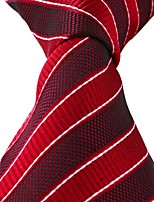 Red White Striped Classic Jacquard Woven Silk Adult Necktie