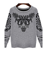 Women's Color Block Gray Pullover , Cute / Plus Sizes Long Sleeve