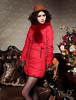 Women's Solid Red / Black / Green / Camel Parka Coat , Casual / Work Stand Long Sleeve