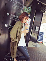 Women's Solid Green Trench Coat , Vintage / Casual / Cute / Party Long Sleeve Cotton