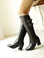 Women's Shoes Leatherette Chunky Heel Round Toe Boots Outdoor / Office & Career / Casual Black / Brown / Red / White