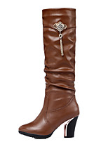 Women's Shoes Synthetic Chunky Heel Snow Boots / Fashion Boots Boots Party & Evening / Dress / Casual Black / Brown