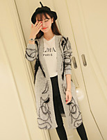 Women's Print Gray Cardigan , Casual / Print Long Sleeve