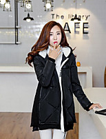 Women's Solid Black / Gray Parka Coat , Casual Hooded Long Sleeve