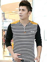 New winter man city fashion v-neck and velvet thickening stripe leisure long-sleeved T-shirt