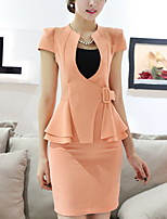Women's Solid White / Black / Orange Blazer , Work / Plus Sizes Sweetheart Short Sleeve