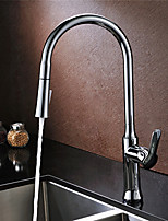 Kitchen Faucet Contemporary Pullout Spray / Pre Rinse Brass Chrome