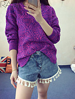 Women's New Arrival Korean Style Diamond Solid Blue / Red / Gray Pullover , Casual Long Sleeve