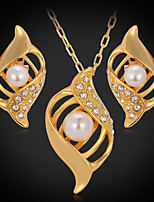 Instyle 18K Chunky Gold Plated Rhinestone Crystal Pendant Earrings High Quality