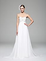 A ライン ウェディングドレス ホワイト シフォン ハートカット チャペル