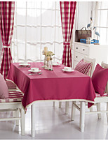 Red Plaid Solid Lacy Design  Jacquard  Tablecloths Fabric Tea Tablecloth