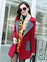 Korelinda ® Women's Solid Red / Brown / Green Coat , Vintage Plus Sizes Long Sleeve Polyester 6111