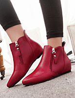 Women's Shoes Flat Heel Pointed Toe Boots Casual Red