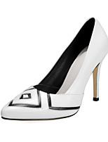 Women's Shoes Leather Stiletto Heel Heels / Pointed Toe Heels Wedding / Dress Black / White