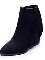 Women's Shoes Suede Wedge Heel Pointed Toe Boots Casual Black